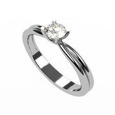 Bague de mariage Zanic avec un diamant solitaire de 4 mm et corps de bague asymétrique. Cette bague de mariage est disponible dans les 3 couleurs d'or.