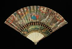 Fan Date: ca. 1730 Culture: European Medium: ivory, mineral, wood, silk, mother-of-pearl, paper, gouache, oil paint Dimensions: 11 in. (27.9 cm) Credit Line: Brooklyn Museum Costume Collection at The Metropolitan Museum of Art, Gift of the Brooklyn Museum, 2009; Gift of Ellen M. Austen, 1915
