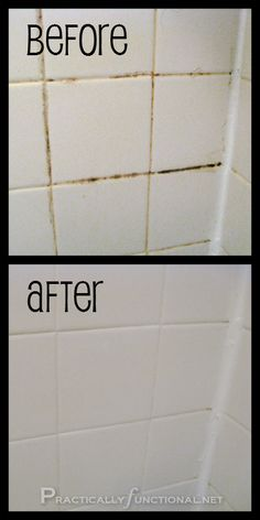 Homemade Grout Cleaner - 3/4 c baking soda, 1/4 c bleach. 10 min. wash off.