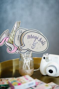 Photo booth props from a Geometrical Magical Unicorn Party on Kara's Party Ideas | KarasPartyIdeas.com (9)