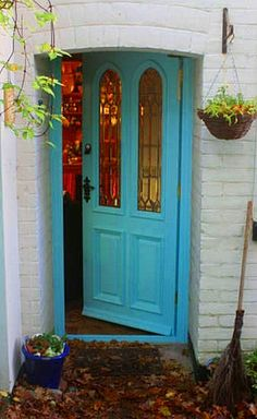 Don't you love the color and leaded glass windows