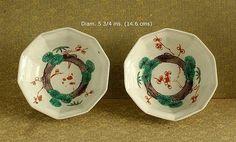 Pares japoneses Arita cuencos de porcelana.  Período Edo.  18a.  siglo