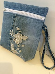 Upcycled Blue Jean Wristlet