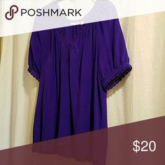 Halogen silk top Very gently used top with scalloped detailing around sleeves and neckline. Halogen Tops Blouses
