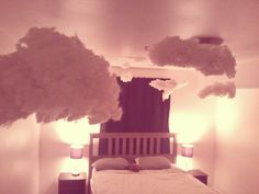 Clouds in your room! OMG I am soo doing thiss! Dream Rooms, Dream Bedroom, Home Bedroom, Girls Bedroom, Bedroom Decor, Bedrooms, Bedroom Ideas, Diy Room Decor Tumblr, Tumblr Bedroom
