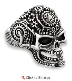 Sterling Silver Mechanical Skull Ring