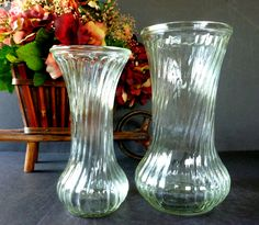 Vintage Hoosier Clear Fluted Glass Vases Two Piece Graduated Set 4090 and 4083 by Vintage42Day on Etsy