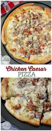 Chicken Caesar Pizza Recipe via Simply Stacie - This recipe for Chicken Caesar Pizza is perfection in a pan! Imagine pizza crust smothered in creamy Caesar dressing, topped with bacon, chicken and cheese! Sandwich Croque Monsieur, Pot Luck, Le Diner, Main Meals, Italian Recipes, Love Food, Food To Make, Chicken Recipes, Dessert Pizza