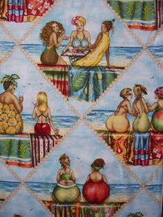 Fruit Lady Blue Triangle Cotton Fabric by scizzors on Etsy, $2.99