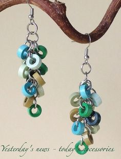 Quilled paper earrings by Yesterday's news - today's accessories                                                                                                                                                      More