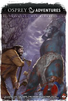Illustration for artwork of 'Odin: The Viking Allfather' book illustrated by RU-MOR for OSPREY Publishing, collection Myths and Legends