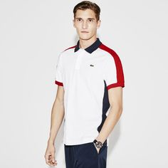 Lacoste SPORT regular fit polo in tricolor ultra-lightweight knit Polo Shirt Outfit Women's, Polo Rugby Shirt, Mens Polo T Shirts, Sport T Shirt, Polos Lacoste, Lacoste Sport, Polo Shirt Design, Polo Design, Nike Clothes Mens