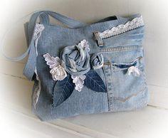 Denim bag Boho bag Summer outdoors Patchwork bag Jean handbag Handmade bag Recycled jeans  Jean patchwork Made of jeans