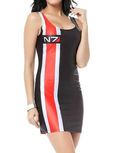 PrettyGuide Women Mass Effect N7 WET Look Print Sleeveless Dress