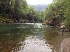 """#Foto del día: """"Pescando #salmones en el coto de #Tempranas en el Río Narcea en Asturias, Spain"""" https://clicandfish.com/photo"""