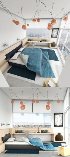 In a towering apartment building, staying low to the ground with a platform bed and simple work area is key.