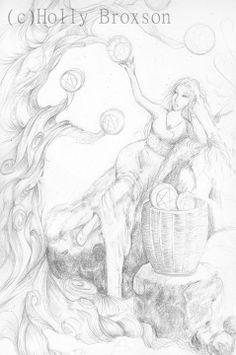 #WIP #7ofPentacles #7ofCoins #HollyBroxon #SeventyEightTarot #Tarot #sketch #goddess #woman #illustration #fantasy #artist #finalsketch #fruit #tree #reclining #basket #harvest #shading #graphite #art #artwork http://www.pinterest.com/flutterbliss/holly-broxsons-art/