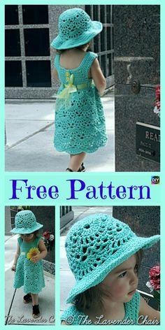 Crochet Lacy Shell Dress Hat Set – Free Patterns #freecrochetpatterns #dress #hat