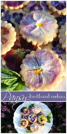 """Pansy Shortbread Cookies 1 1/4 cups flour 1/4 cup sugar 1/2 cup room temperature butter 1/4 tsp vanilla 1 TBS dried egg whites 2TBS  water Pesticide free Pansies or violas  Preheat oven to 325 degrees. Place on parchment 2"""" apart. Bake for 30 min."""
