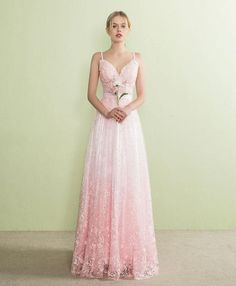Pink lace prom dress, long evening dress for prom 2018