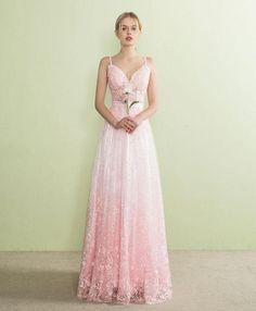 Pink lace prom dress, long evening dress for prom 2018. Einfache  LinienBallkleidKleider ... d1d7104786
