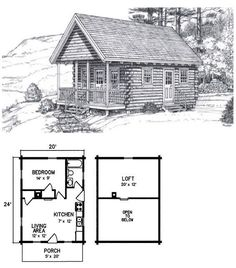 The Allagash is a 1 Bed 1 Bath 2 Levels 700 Sq ft. This nifty camp-style bungalow, complete with a covered front porch, combines space economy with c. Cabin Plans With Loft, Small Cabin Plans, Loft Floor Plans, Cabin Loft, House Plan With Loft, Cabin House Plans, Tiny House Cabin, Cabin Homes, Small House Plans
