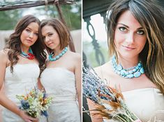 Turquoise necklace with white dress.