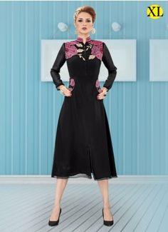 Black Georgette Embroidery Designer Kurti | R-21