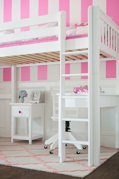 Straight Ladder For A White High Loft Bed With Desk And Nightstand  Underneath By Maxtrix Kids