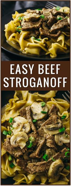 Easy beef stroganoff with flank steak and mushrooms, best beef stroganoff, classic beef stroganoff, beef stroganoff slow cooker, easy, dinner, recipe, pasta, dish, lunch, idea, noodles, comfort food, simple, fast, russian via @savory_tooth