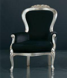 MM.8020 | Wooden armchair | silver finishing - velvet fabric. | L75 x H105 x P80 cm