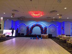 A balloon arch and 2 columns balloon decoration set up we did at Natraj Banquet Hall Balloon Arrangements, Balloon Decorations, Balloon Arch, Balloons, Balloon Delivery, Columns, Banquet, Birthday Candles, Toronto