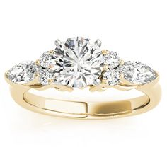 Diamond Marquise Accented Engagement Ring 14k Yellow Gold .66ct - Allurez.com