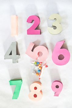 Mini number pinatas -- perfect for NYE countdown!