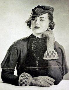 d43f5b7d35 1930s gorgeous tilt hat and gauntlets crochet pattern