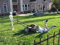 Halloween decorating outdoors