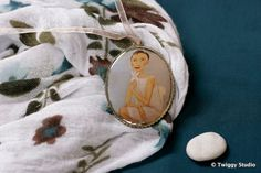 LADY WITH MAGNOLIA pendant by TwiggyStudio on Etsy, €36.00 Twiggy, Limited Edition Prints, Magnolia, Card Holder, Pendants, Brooch, Studio, Trending Outfits, Lady