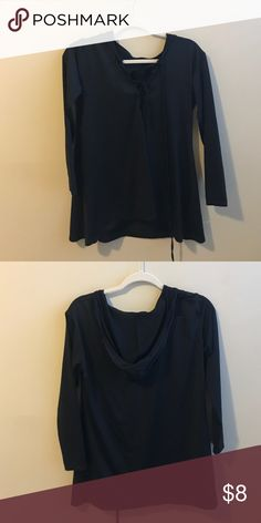 Lace up top with hood Polyester. Worn once. Tops Blouses
