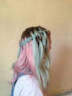 Pink and turquoise dyed hairstyle with dark roots - http://ninjacosmico.com/28-crazy-hairstyles-ideas/