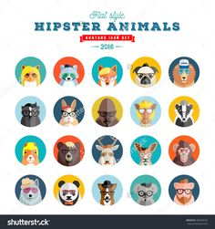 Flat Style Hipster Animals Avatar Vector Icon Set For Social Media Or Web Site. Fauna Portraits. Mammals Faces. Isolated. - 486834676 : Shutterstock
