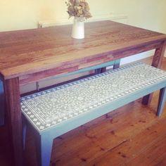 A DIY stenciled bench using the Indian Inlay Stencil Kit. http://www.cuttingedgestencils.com/indian-inlay-stencil-furniture.html  #furniture #stenciling