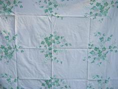Vintage Ivy Tablecloth Green Vines Retro by LavenderGardenCottag