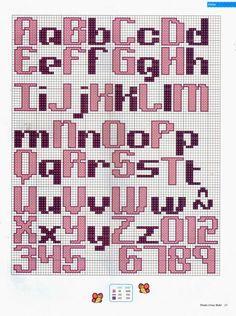 Punto de Cruz para bebes - Revistas de manualidades Gratis Embroidery Alphabet, Cross Stitch Alphabet, Cross Stitch Patterns, Crochet Letters, Black Aesthetic Wallpaper, Lettering Styles, Alphabet And Numbers, Pop Up Cards, Hama Beads