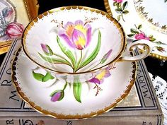TUSCAN TEA CUP AND SAUCER PAINTED TULIP ARTIST SIGNED TEACUP