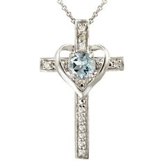 Sterling Silver Diamond/Accent Blue Topaz Heart- Cross Necklace I would rather have a pink stone