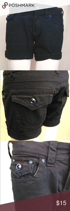 True Religion Navy Shorts Navy 96% cotton and 4% spandex shorts with blue stone buttons. Raw edge makes these great for rolling up! True Religion Shorts