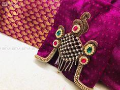 Saree Blouse Neck Designs, Fancy Blouse Designs, Bridal Blouse Designs, Sari Blouse, Hand Work Blouse Design, Stylish Blouse Design, Simple Embroidery, Hand Embroidery Designs, Embroidery Patterns
