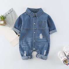 6ad108217844 Check out my new Cool Pocket Rip Denim Jumpsuit for Baby