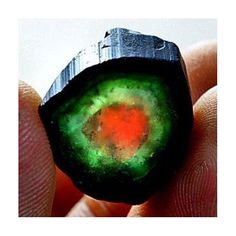 "Natural crystal form of ""watermelon"" tourmaline"