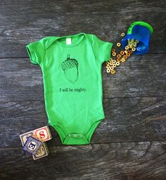 Cotton Baby Onesie Bodysuit - I Will Be Mighty Screen Print Acorn - Grass Green - Gender Neutral Gift Idea
